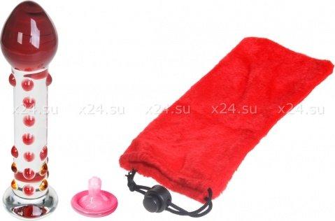 Анальная втулка из стекла с пупырышками Red Top Dildo