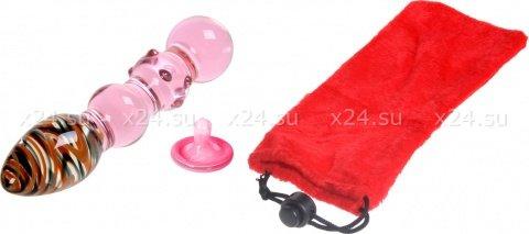 Двойной стимулятор из стекла Pink with Colorful Heads
