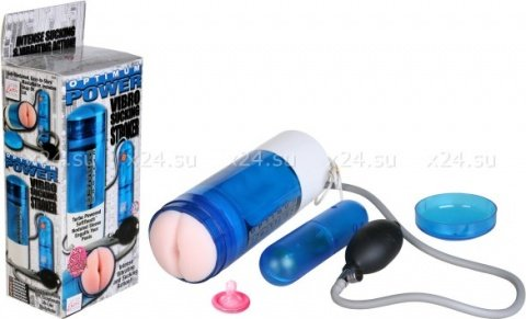 Синий мастурбатор с насадкой-анусом, фото 2