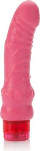 Ярко-розовый вибратор chubby 16 см, фото 2