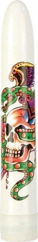 Белый вибратор с цветной татуировкой inked superslims, фото 2