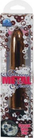 Бронзовый вибратор с кристаллом precious gems 6,75in ukrn, фото 2