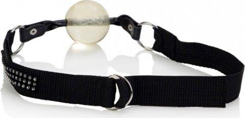 Прозрачный кляп на ремне со стразами bound by diamonds, фото 3
