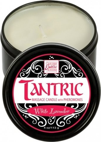 Массажная свеча с феромонами аромат белой лаванды tantric white lavander, фото 2