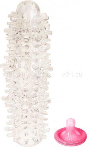 Утолщающая насадка на пенис с текстурами прозрачная 19 см
