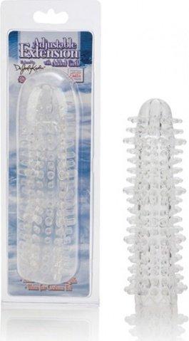 Утолщающая насадка на пенис с текстурами прозрачная 19 см, фото 2