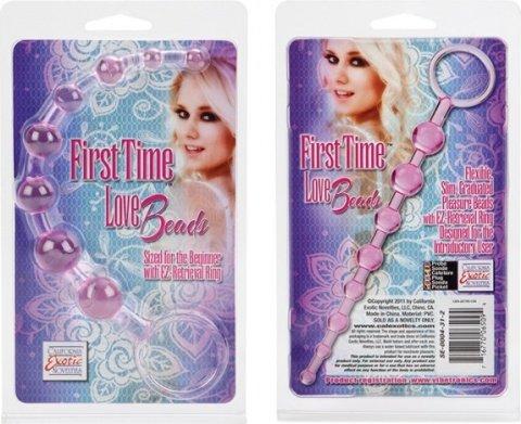 Розовая анальная цепочка first time love beads, фото 6