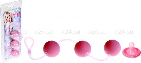 Три вагинальных шарика first time розовые, фото 3