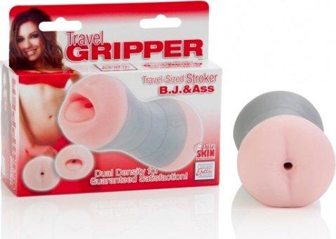 Компактный двойной мастурбатор ротик и попка travel gripper