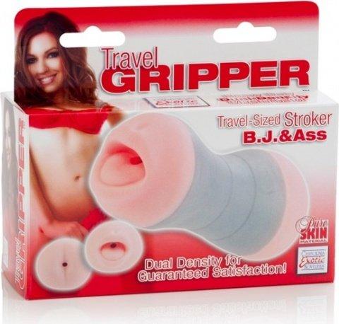 Компактный двойной мастурбатор ротик и попка travel gripper, фото 3