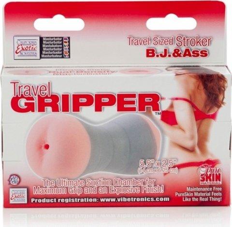 Компактный двойной мастурбатор ротик и попка travel gripper, фото 4