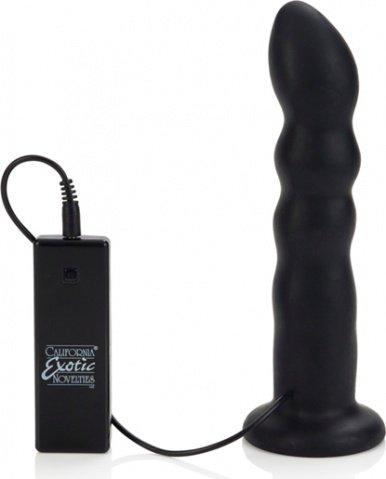 Страпон с черным силиконовым вибродилдо thruster 18 см