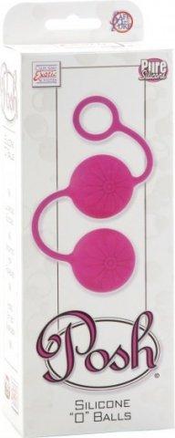 Яркие розовые силиконовые вагинальные шарики с цветками posh, фото 3