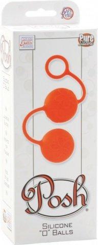 Яркие оранжевые силиконовые вагинальные шарики с цветками, фото 2