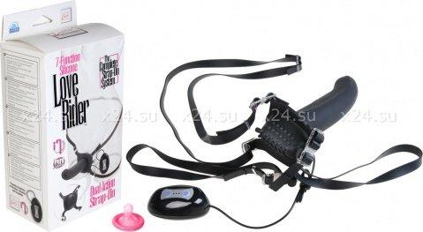 Женский страпон из силикона с вибрацией и стимуляцией клитора черный love rider 18 см, фото 3