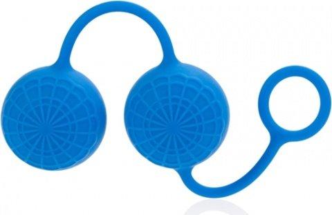 Яркие синие силиконовые вагинальные шарики с кружевным рисунком, фото 4