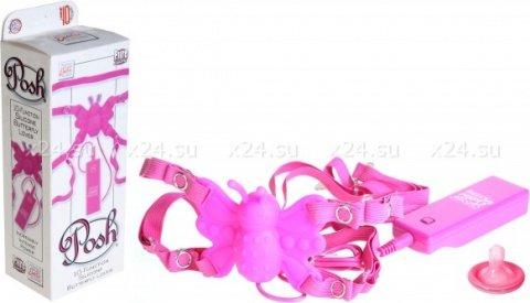 Силиконовая розовая бабочка-стимулятор на ремешках с 10 функциями butterfly lover, фото 2