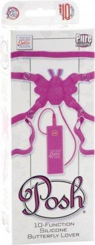 Силиконовая розовая бабочка-стимулятор на ремешках с 10 функциями butterfly lover, фото 3