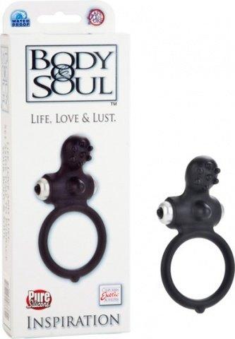 Черное силиконовое кольцо с вибростимулятором inspiration
