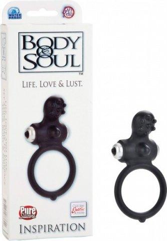 Черное силиконовое кольцо с вибростимулятором inspiration, фото 2