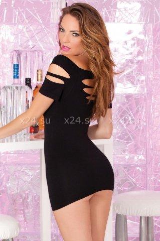 Платье бесшовное с вырезами черное, фото 2