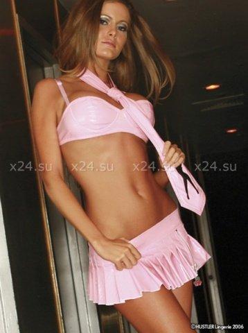 Блестящая розовая юбочка с вишней на молнии M