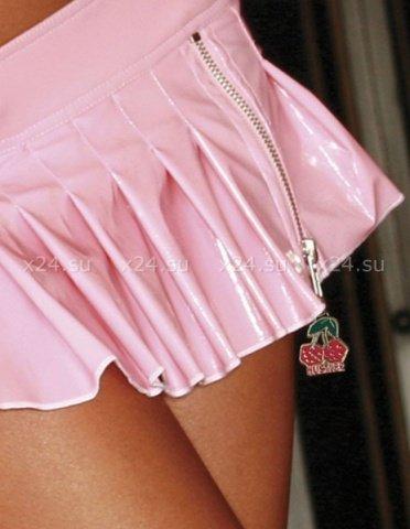 Блестящая розовая юбочка с вишней на молнии M, фото 2