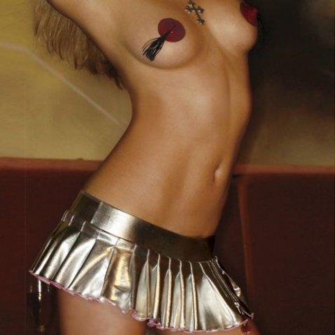 Серебристая юбка с вишней на молнии S, фото 3
