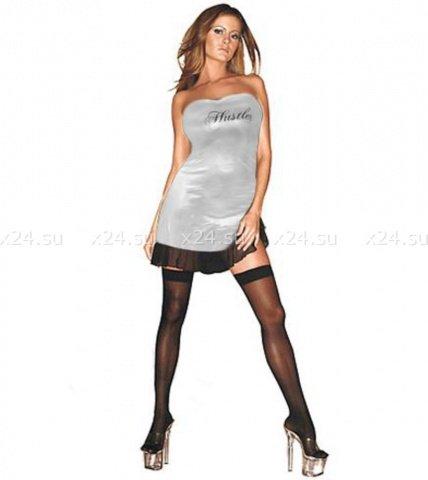 Серебристое платье с надписью Hustler