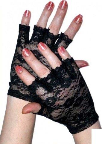 Перчатки короткие с открытыми пальчиками, черные