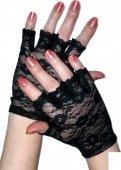 Перчатки короткие с открытыми пальчиками, черные - Секс шоп Мир Оргазма