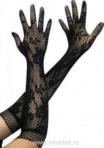 Перчатки длинные, черные
