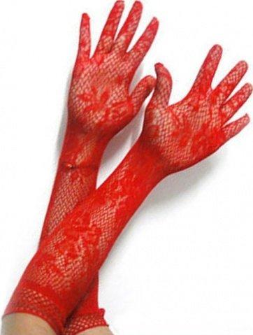 Перчатки длинные, красные