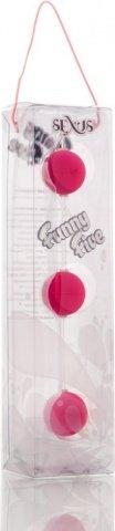 Трехрядные анальные шарики розовые Funny Five, фото 3