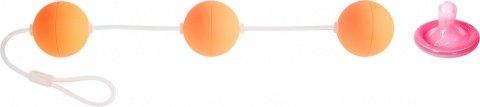 Трехрядные анальные шарики оранжевые Funny Five, фото 2