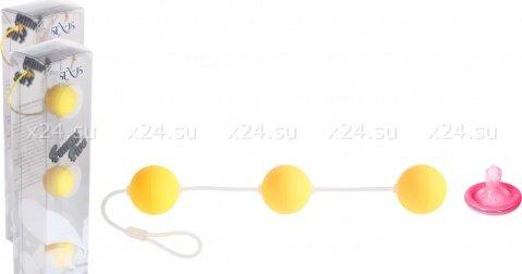 Трехрядные анальные шарики желтые Funny Five, фото 2