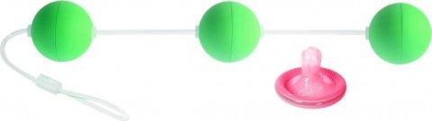 Трехрядные анальные шарики зеленые Funny Five, фото 2