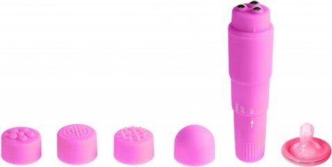 Вибромасcажер фиолетовый с насадками Funny Five, фото 2
