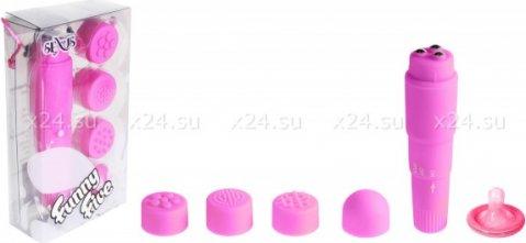 Вибромасcажер фиолетовый с насадками Funny Five, фото 3