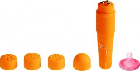 Вибромассажер оранжевый с насадками Funny Five