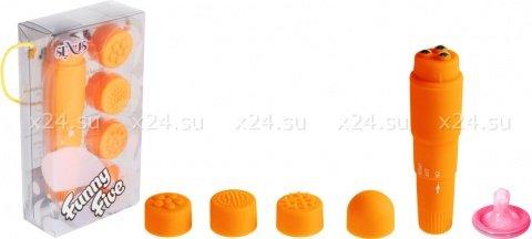 Вибромассажер оранжевый с насадками Funny Five, фото 2