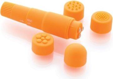 Вибромассажер оранжевый с насадками Funny Five, фото 4