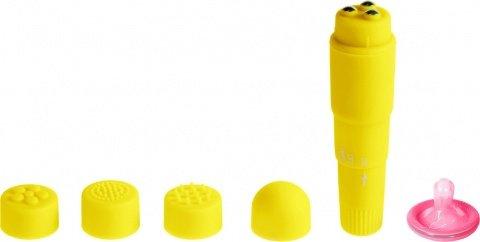 Вибромассажер желтый с насадками Funny Five