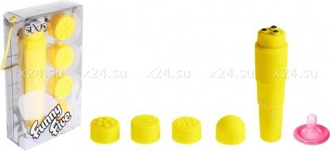 Вибромассажер желтый с насадками Funny Five, фото 2