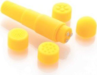 Вибромассажер желтый с насадками Funny Five, фото 4