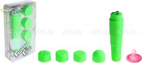 Вибромассажер зеленый с насадками Funny Five, фото 2