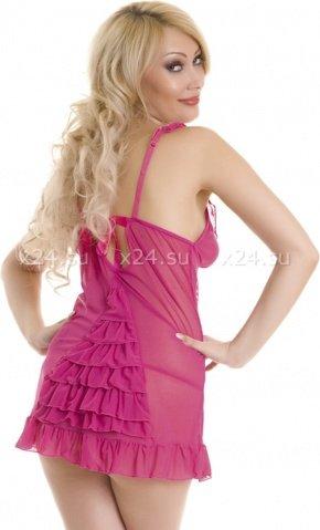 Платье розовое сетчатое с рюшами, фото 2