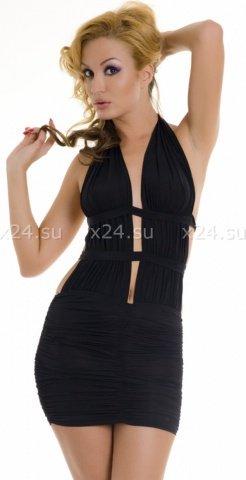 Платье черное стрейчевое с открытой спиной