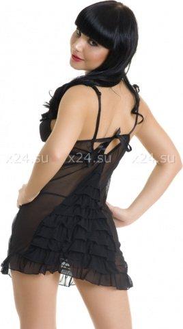 Комбинация черная с рюшами и стрингами, фото 2