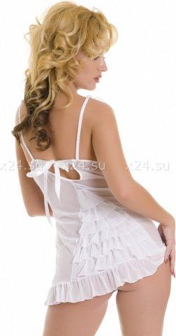 Мини-платье с рюшами и со стрингами, фото 2